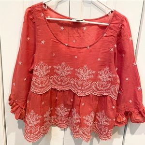 American Eagle Top Blouse Shirt Pink Flowy